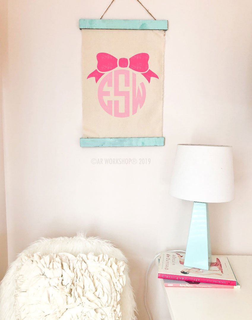 ribbon monogram canvas wall hanging