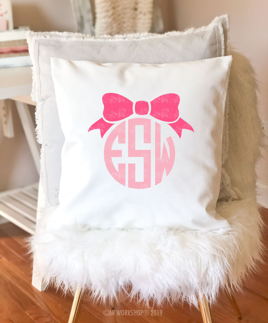 ribbon monogram pillow