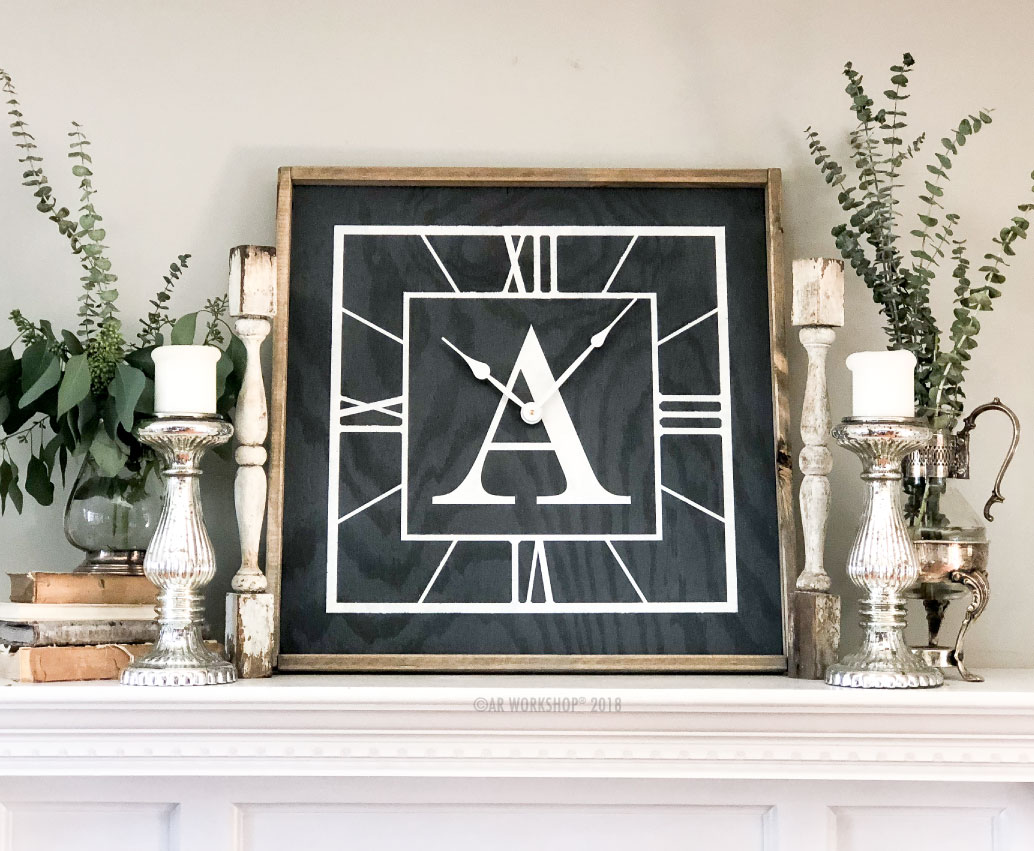 roman numeral initial framed clock 26x26