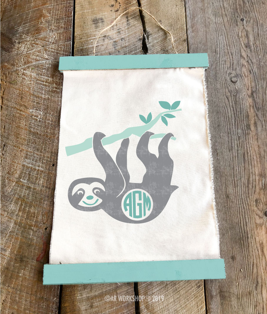 sloth monogram canvas wall hanging