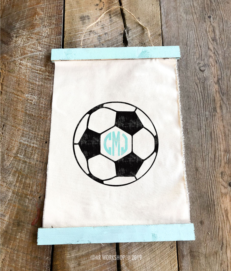 soccerball monogram canvas wall hanging
