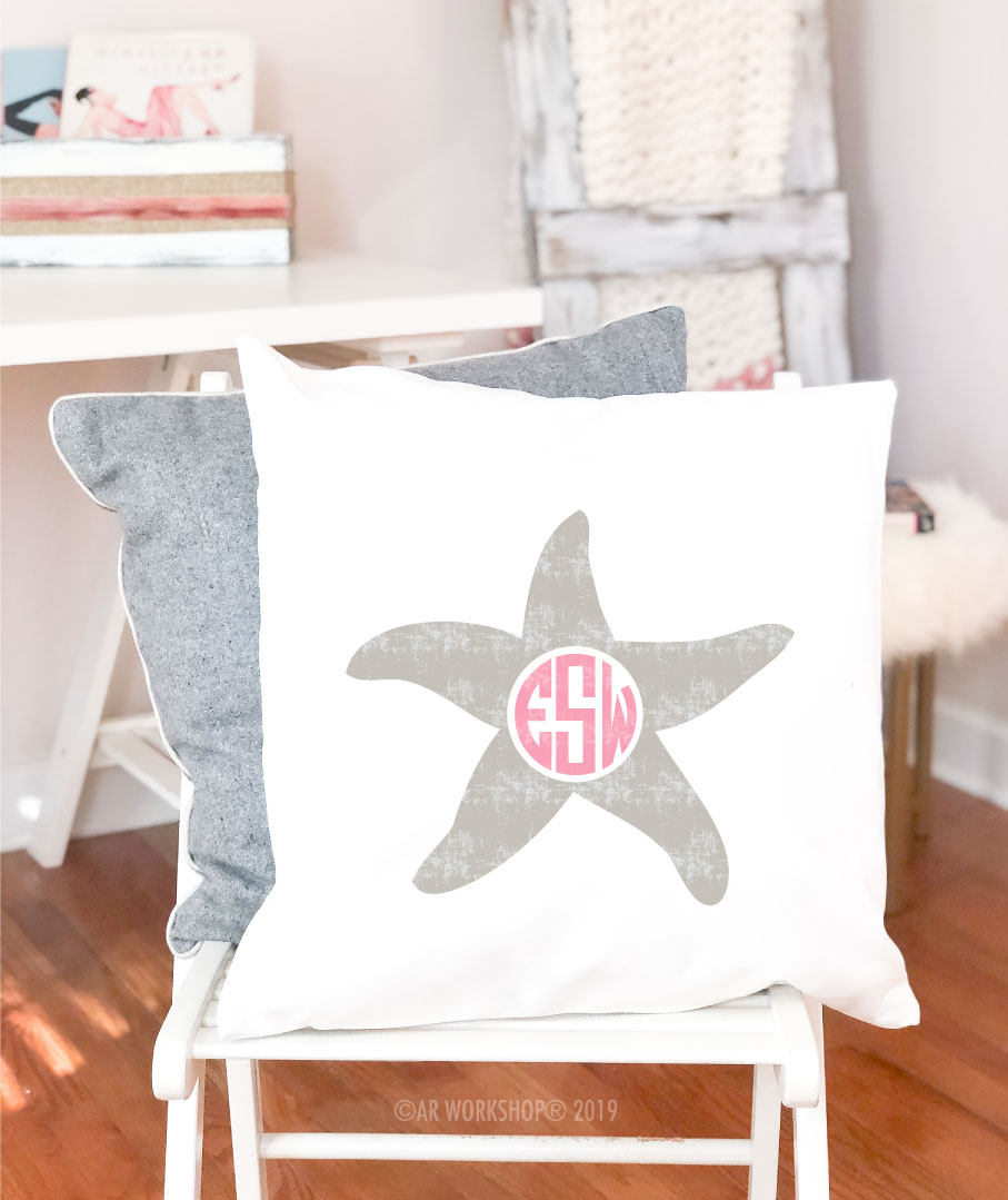 starfish monogram pillow