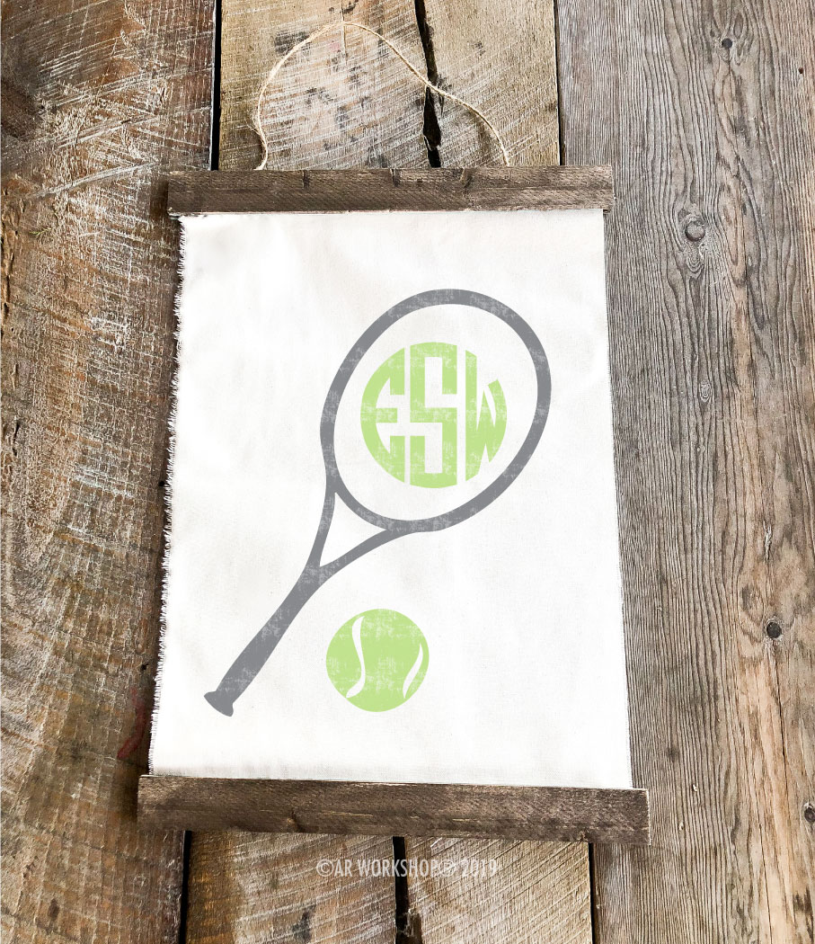 tennis monogram canvas wall hanging