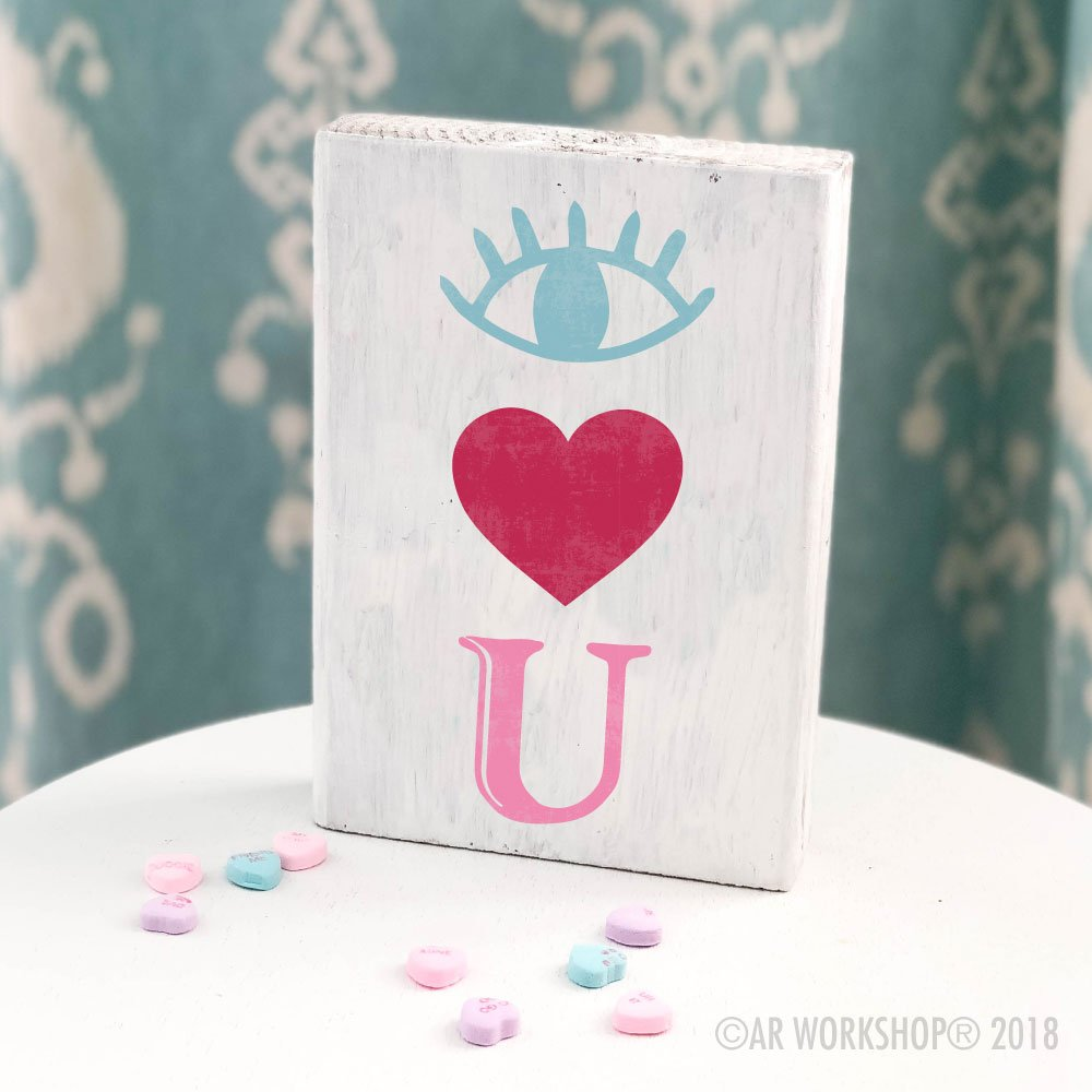 eye heart you valentines mini wood sign