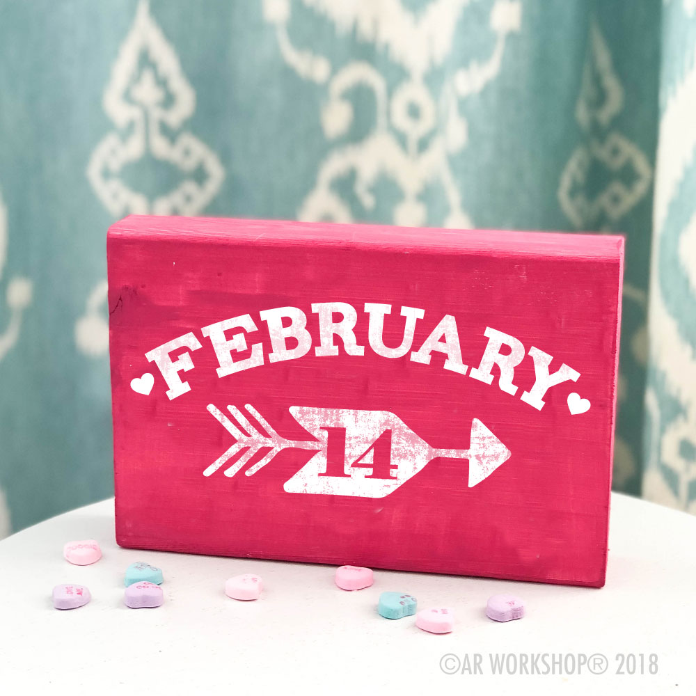 february 14 valentines mini wood sign