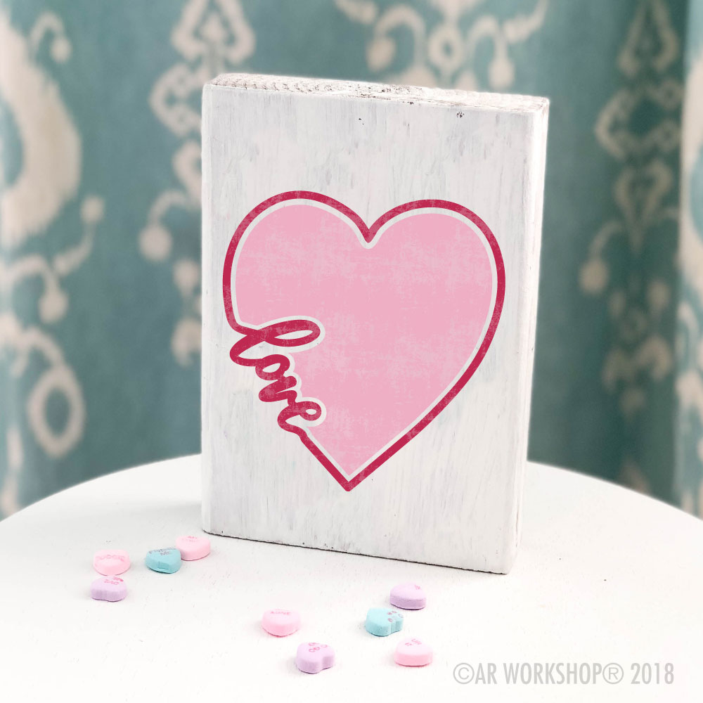 Love Heart valentines mini wood sign