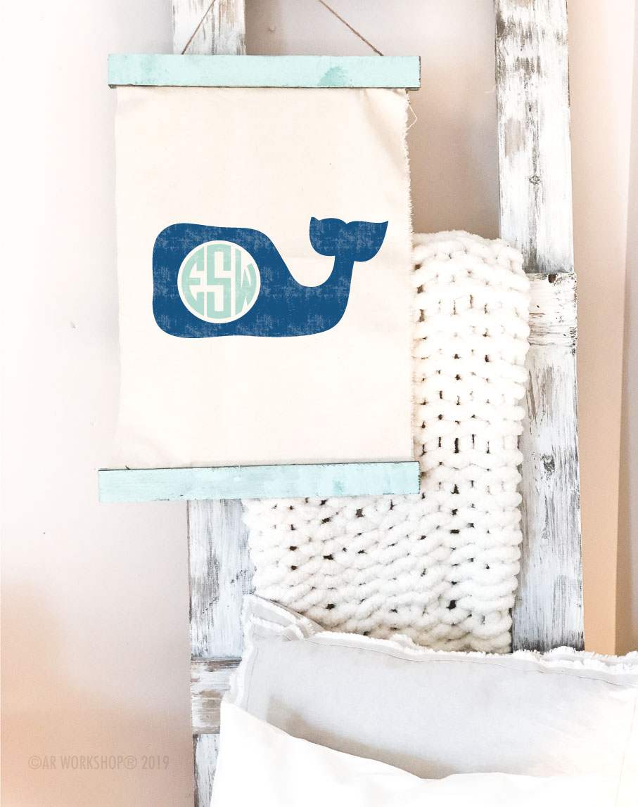 whale monogram canvas wall hanging
