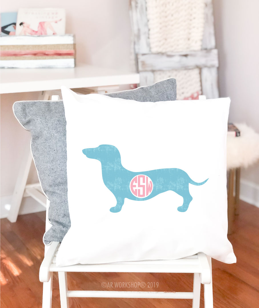 wiener dog monogram pillow