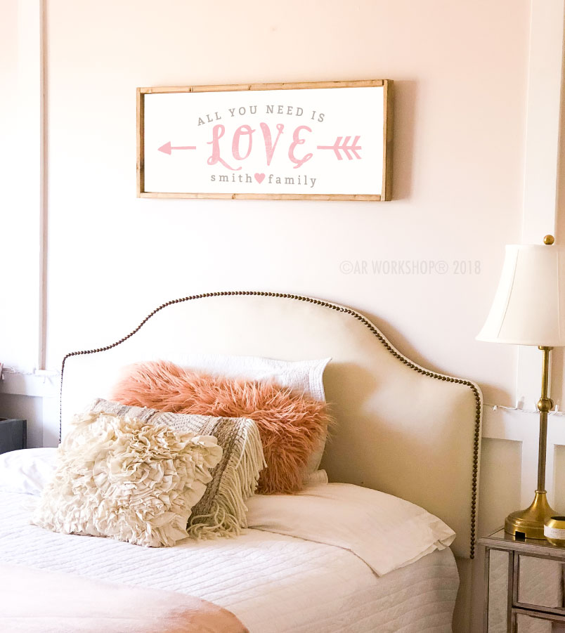 all you need is love framed sign 14x34
