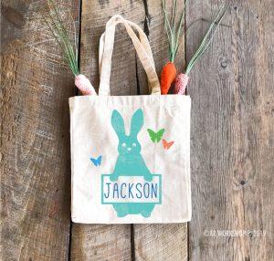 Easter Rabbit Butterflies Tote Bag