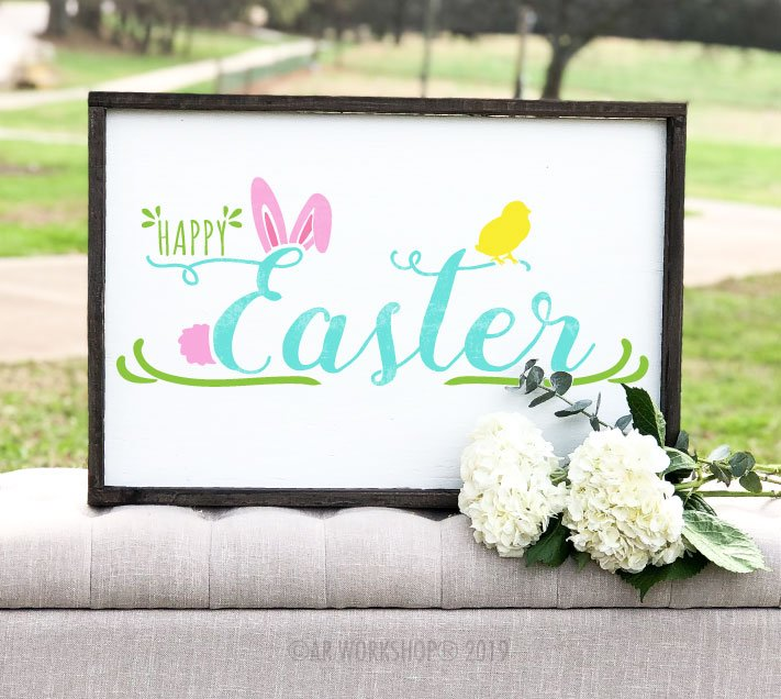 Happy Easter Bunny Chick framed sign 18x26