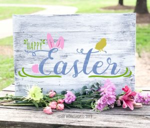 Happy Easter Bunny Chick plank sign 17.5x24