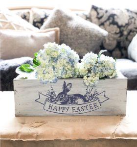 "Easter Floral Vintage Label centerpiece box 16"""