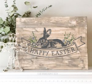 Easter Floral Vintage Label plank sign 17.5x24