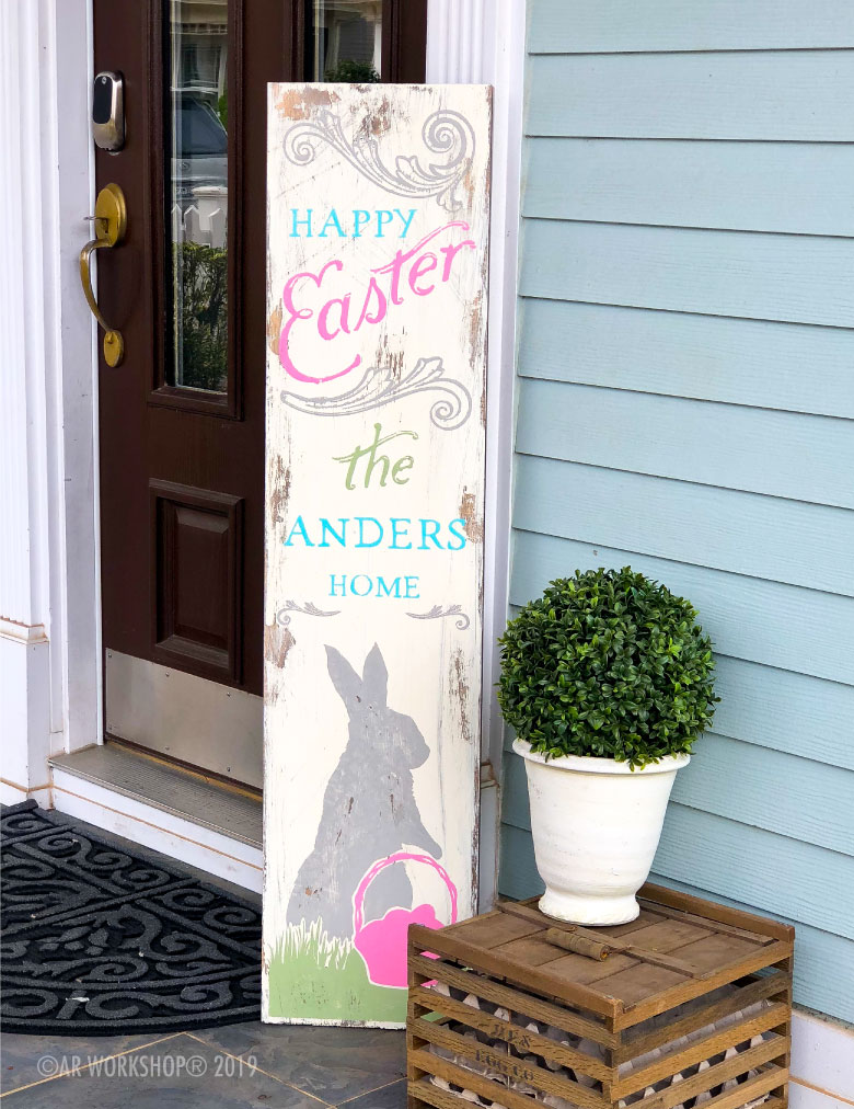 Vintage Happy Easter Porch sign 12x48
