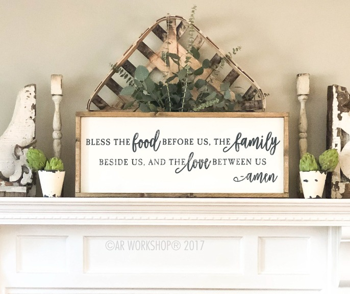 bless the food long framed sign 14x34