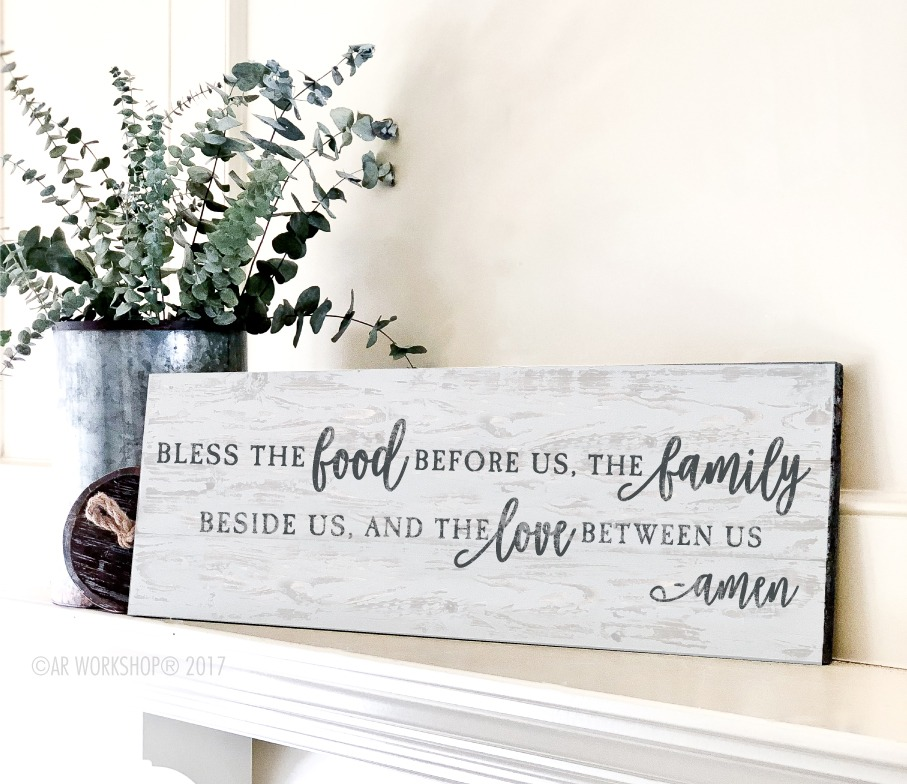 bless the food long plank sign 10.5x32