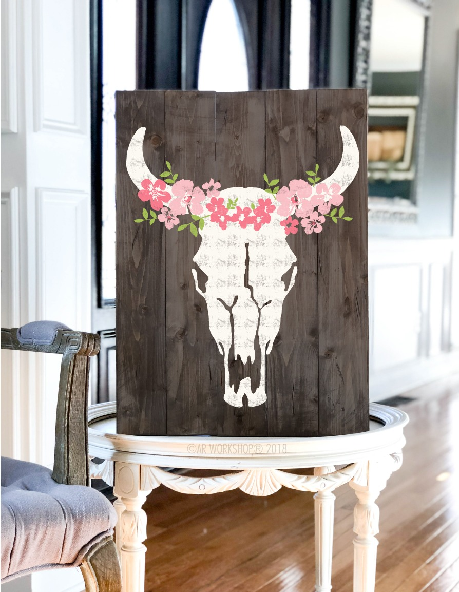 bohemian floral cow skull plank sign 17.5x24