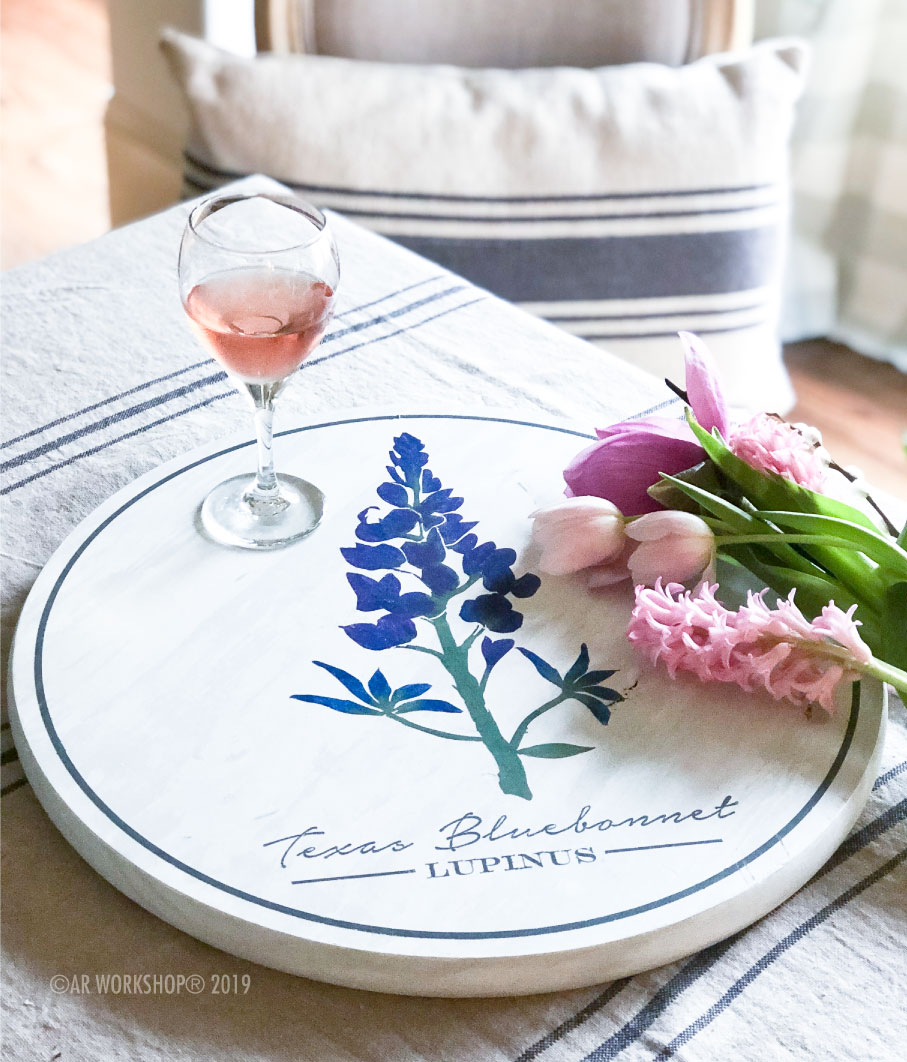 Texas Bluebonnet Botanical Lazy Susan