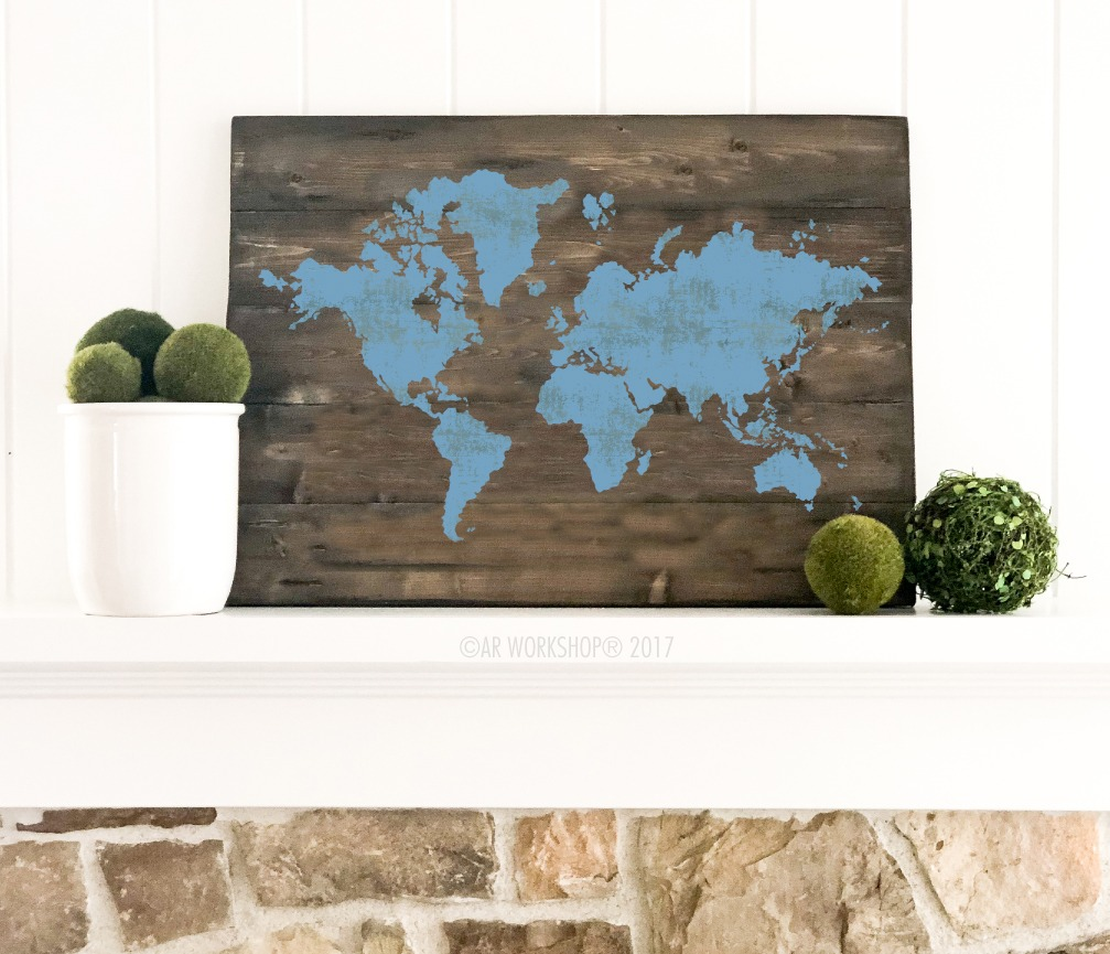 World map silhouette plank sign 17.5x24