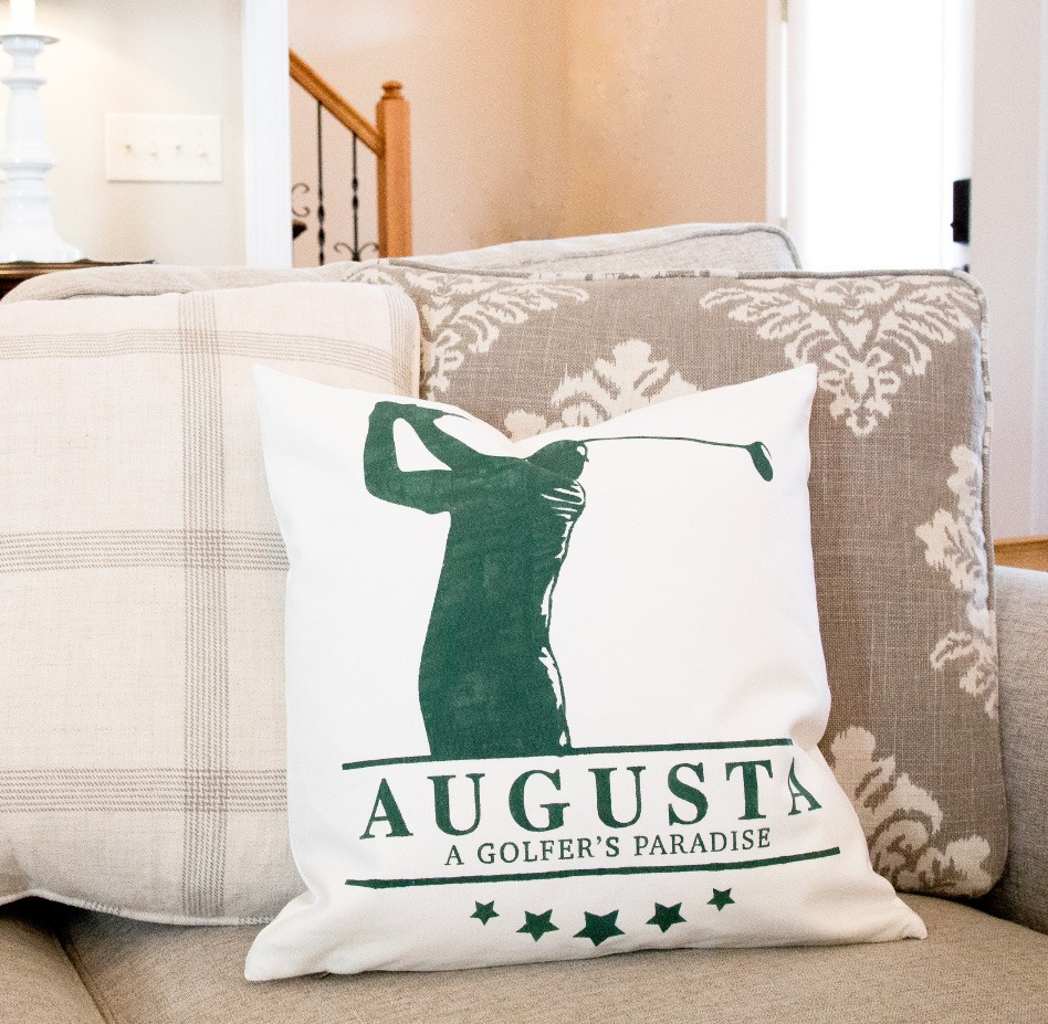 Golf Swing Silhouette Canvas Pillow