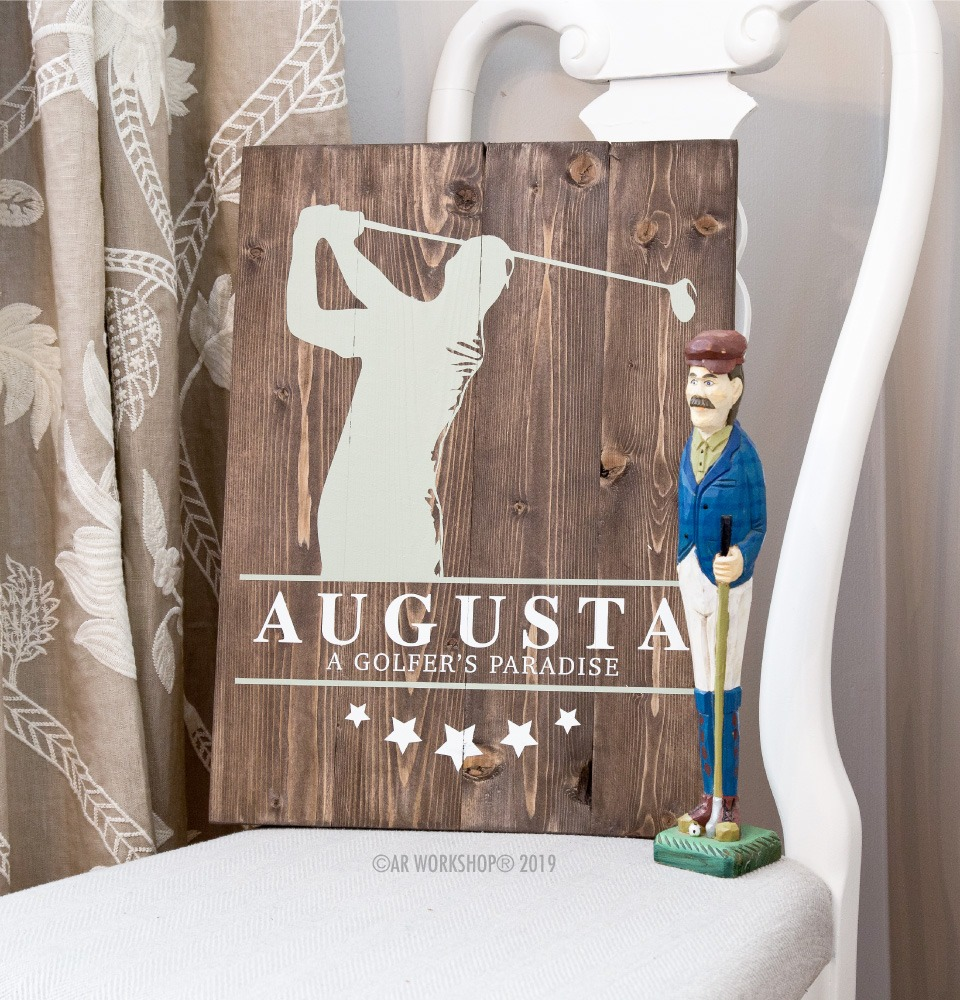 Golf Swing Silhouette Plank Sign 14x19