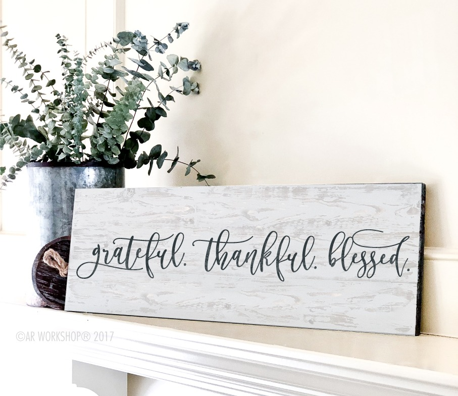 grateful thankful blessed plank sign 10.5x32