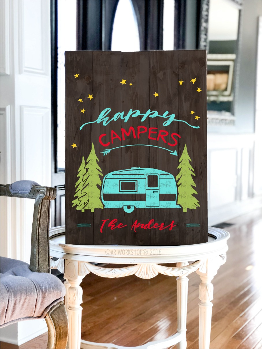 happy campers plank sign 17.5x24