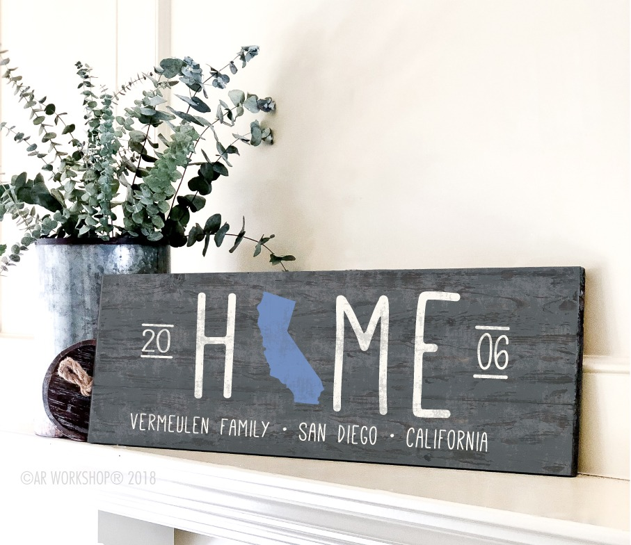 home state silhouette long plank 10.5x32