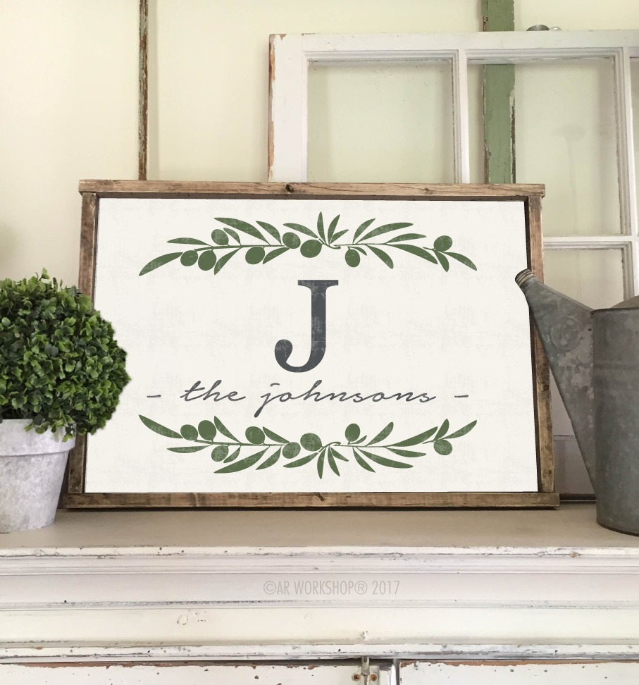 olive branch monogram family name framed sign 18x26