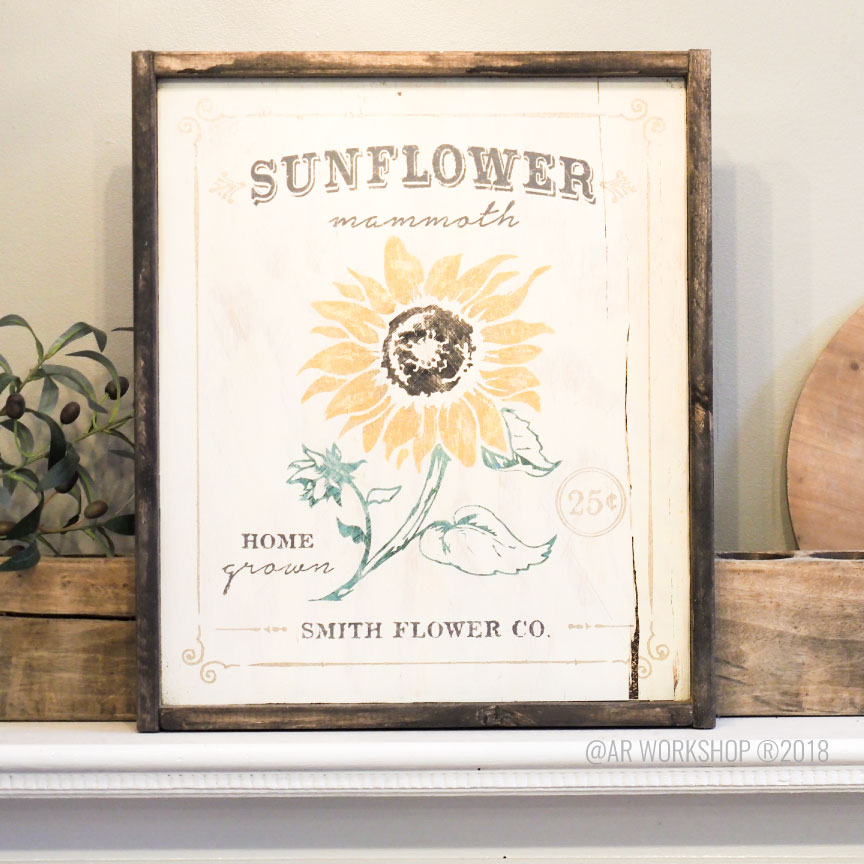 sunflower floral framed sign 18x21