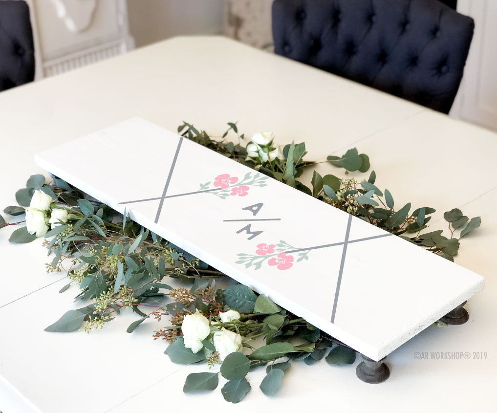 contemporary hexagon initials pedestal tray 10x32