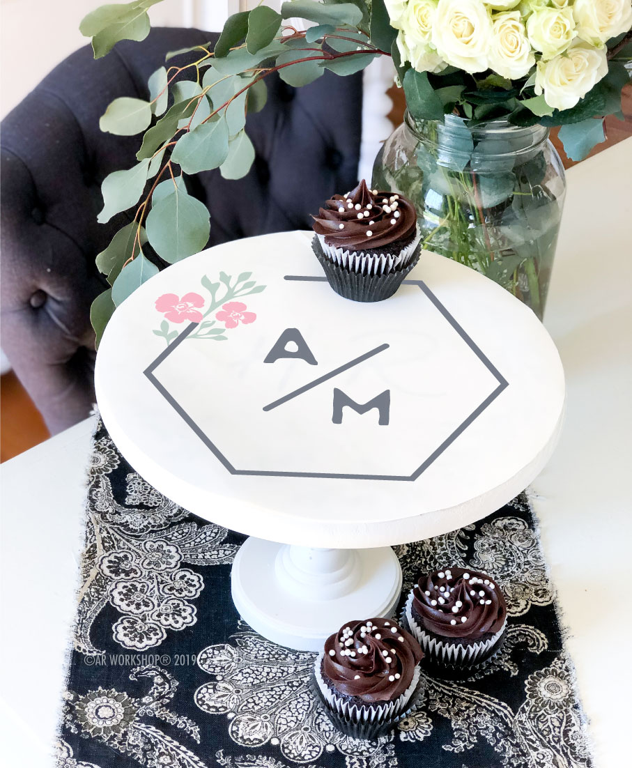 contemporary hexagon logo cake stand (8.5 inch tall)