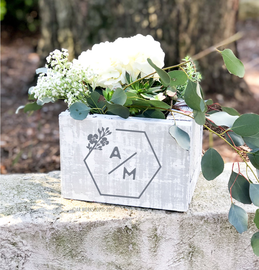 contemporary hexagon logo centerpiece box 8""