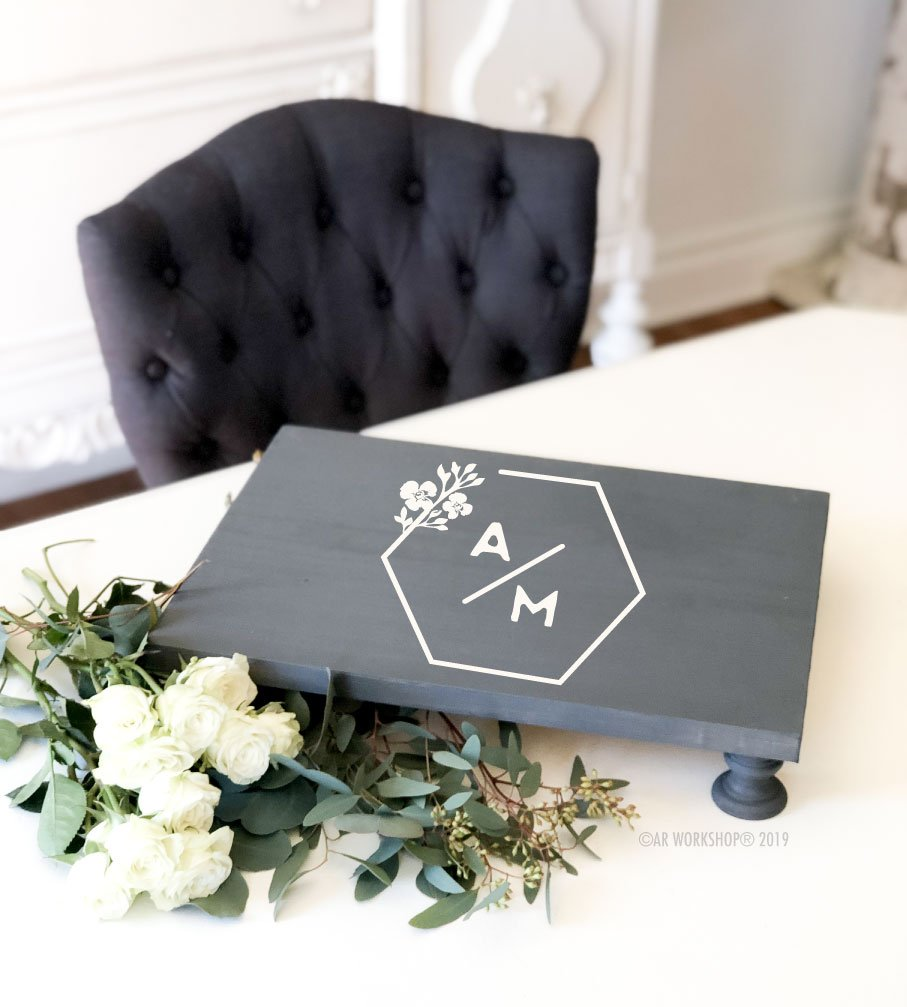 contemporary hexagon logo pedestal tray 12x16