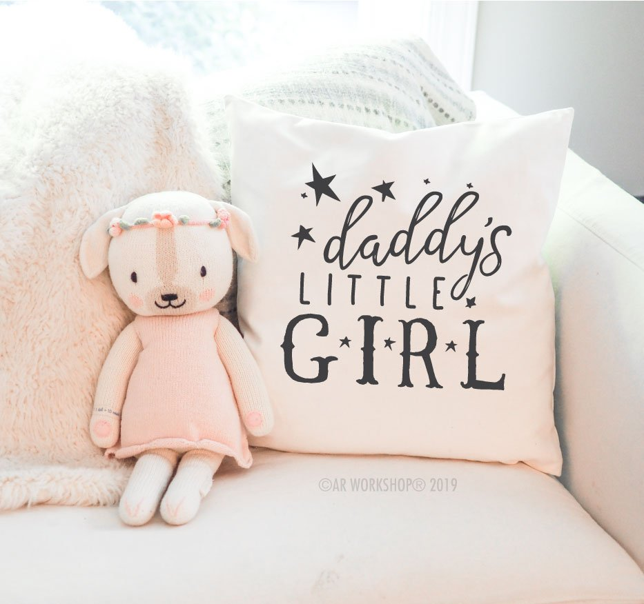 daddy's little girl canvas pillow baby