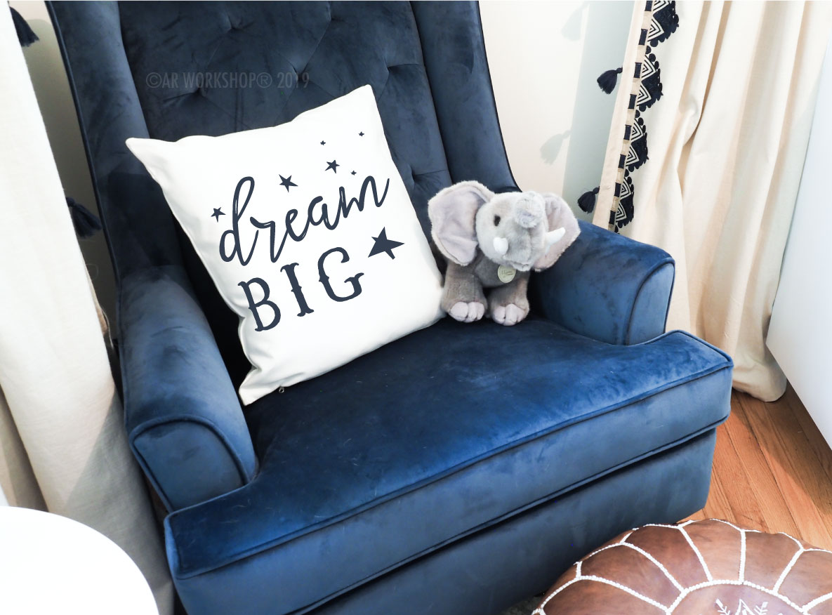 dream big canvas pillow baby