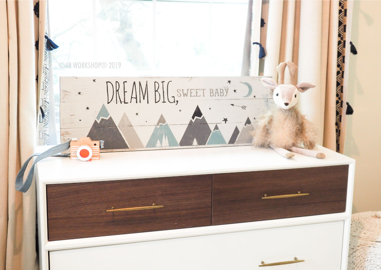 dream big sweet baby plank sign 10.5x32