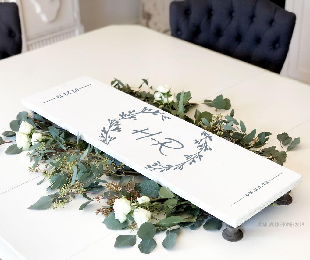 eucalyptus branch initials pedestal tray