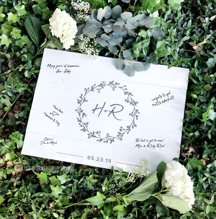 eucalyptus wreath initials (guest signatures) plank sign 17.5x24