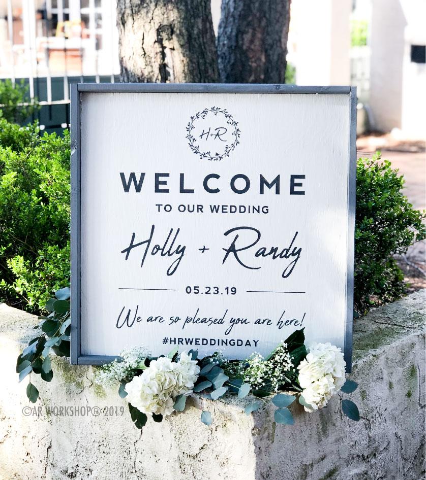 eucaplyptus wreath welcome framed sign 26x26