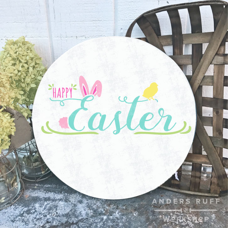 happy easter bunny chick round sign