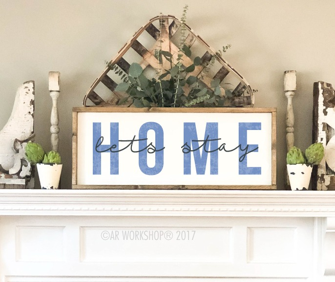 lets stay home framed sign 14x34