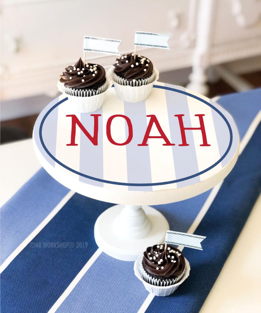 modern stripe name cake stand