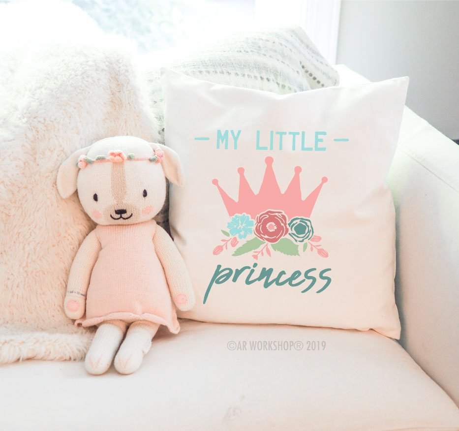 my little princess canvas pillow