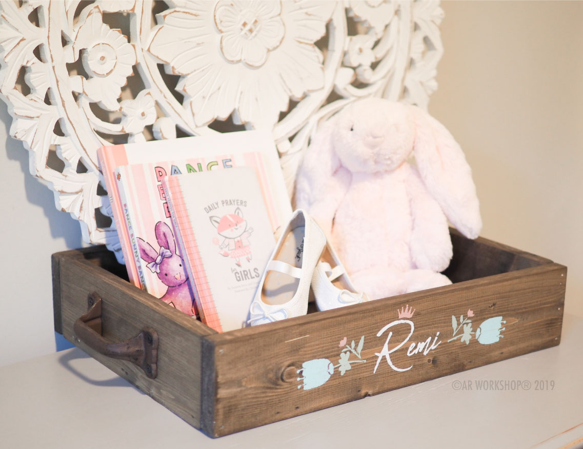 princess floral tulip name box tray 12x16 baby
