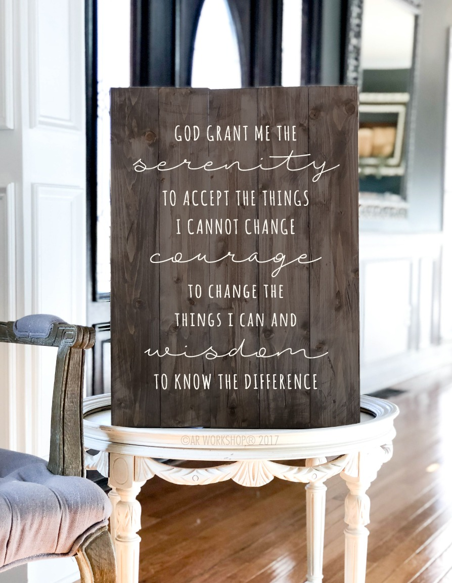 serenity prayer plank sign 17.5x24