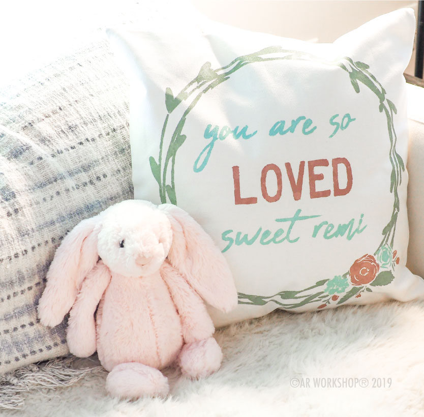 you are so loved wreath canvas pillow baby