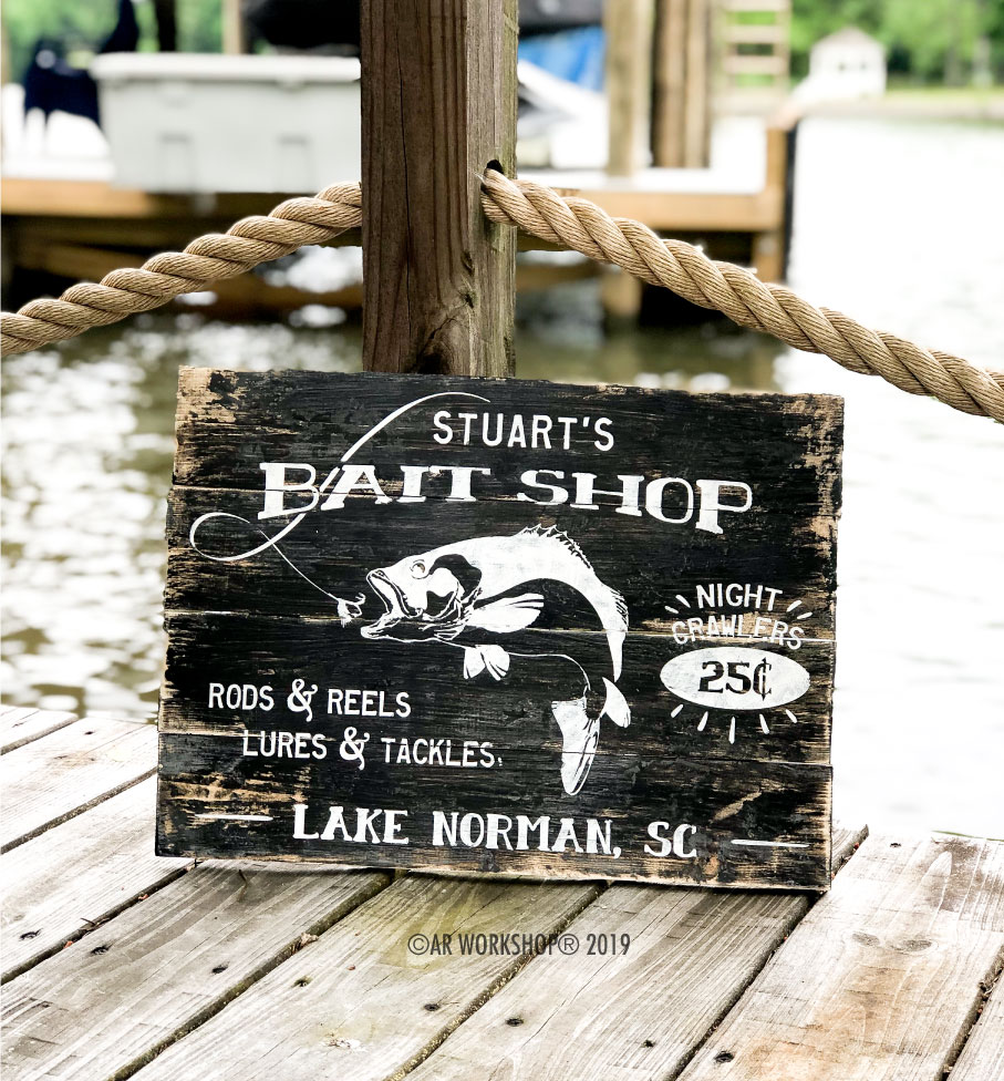 bait shop plank sign 14x19