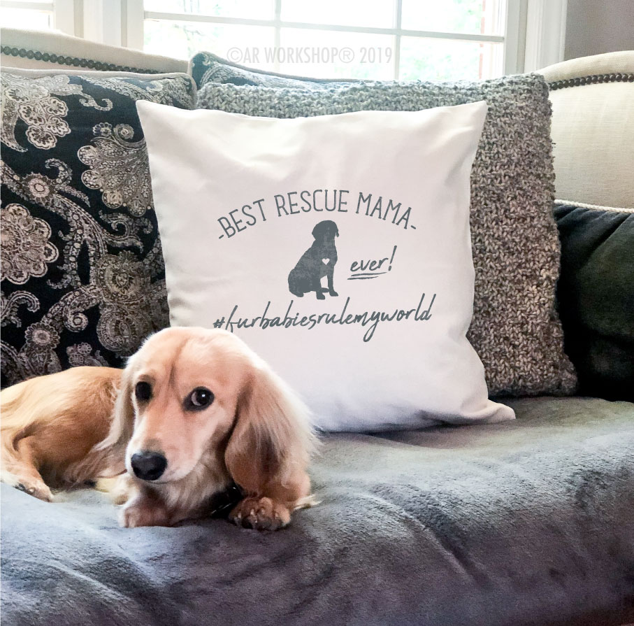 best rescue mama ever canvas pillow